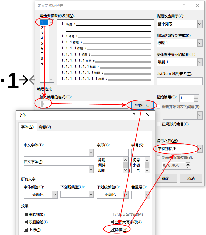 图4 将链接到标题样式的多级列表编号方案中一级列表的编号设置为隐藏